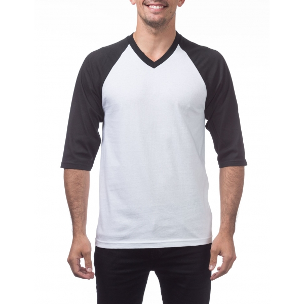 Pro Club 3/4 Sleeve V-Neck Baseball Shirt