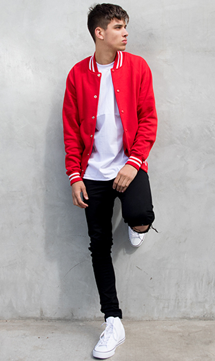 Pro Club White Tee worn with Red Fleece Baseball Jacket